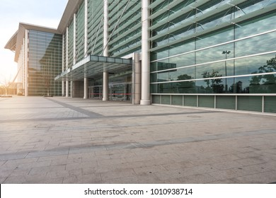 suzhou, china - January 24, 2017:Facade of modern Business Center with glass doors,in Suzhou, jiangsu province,china