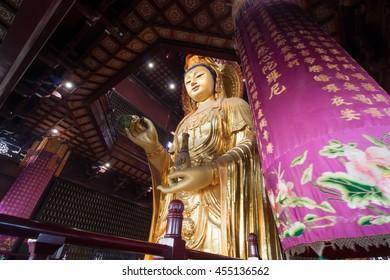 SUZHOU, CHINA - MARCH 05, 2016: Guanyin Buddha in Chongyuan temple in suzhoun city of Jiangsu province in China.