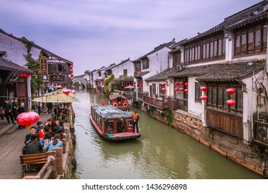 SUZHOU, CHINA - OCT 15: Traveler at Shantang old street on Oct 15, 2018 , This is Chinese History and Culture Street