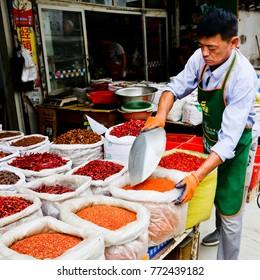 SUZHOU, CHINA September 1 2017: Market scene in Suzhou China