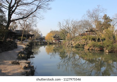 SUZHOU, JIANGSU PROVINCE / CHINA - DECEMBER 26 2014: Humble Administrators Garden is a Chinese garden in Suzhou, a UNESCO World Heritage Site and one of the most famous of the gardens of Suzhou