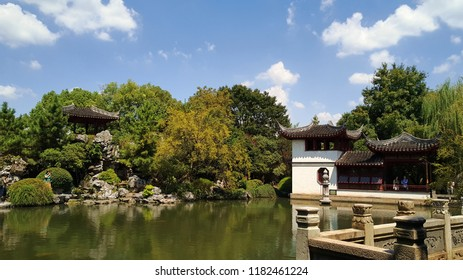Suzhou/China - August 07 2018: Beautiful landscape of traditional Chinese garden and architecture in SuZhou China