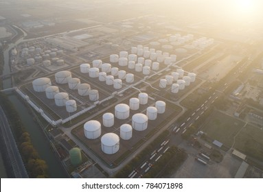 Suzhou,China-December 22,2017:Aerial view of a state of the art terminal for storage of mineral oil products and chemicals