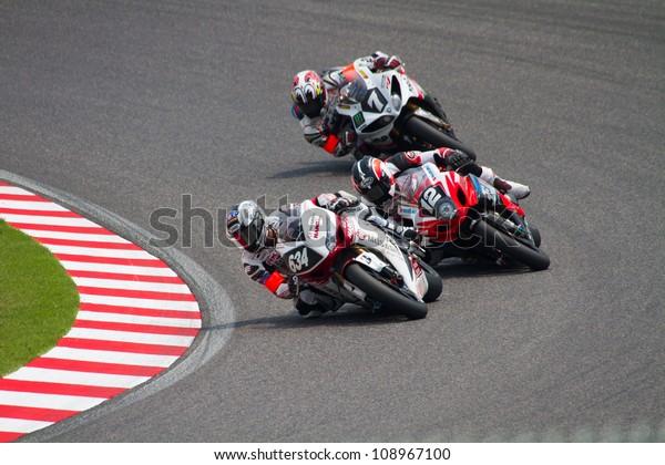 SUZUKA, JAPAN - JULY 29 : Rider of MuSASHi RT HARC-PRO. (41st place, Fastest Lap of Race) racing at 2012 Suzuka 8 hours World Endurance Championship Race, on July 29, 2012 in Suzuka Circuit, Japan.