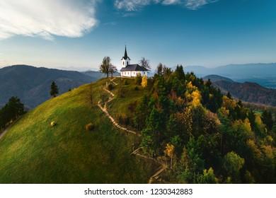 The Sv. Jakob hill in the Polhov Gradec Hill Range near Ljubljana.