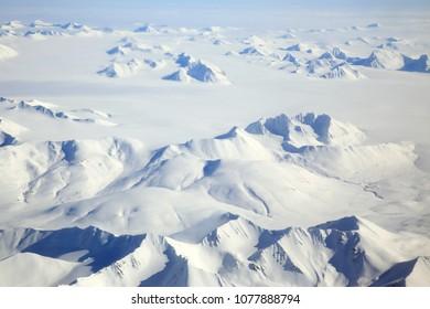 Svalbard Arctic Landscape Aerial View, Norway