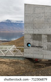 Svalbard, August 2017: Entrance to the Global Seed Vault at Svalbard archipelago. The world's largest seed storage, opened by the Norwegian Government in 2008. Seed crates stored in permafrost.