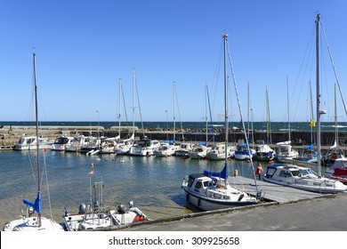 SVANEKE - AUGUST 14: View of the marina full of sailing boats in summer sunny day on 14 August 2015 in Svaneke on Bornholm Island, Denmark.