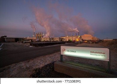 Svartsengi, Iceland - December 8, 2017 : Headquarters of HS Orka which has been a leading company in production of renewable energy for 40 years.