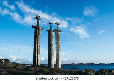 Sverd i Fjell - viking swords monument, symbol of Stavanger