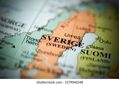 Sverige. Europe on a geography map
