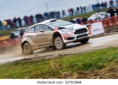 SVETA NEDELJA, CROATIA - NOVEMBER 27, 2016. 7th Rally Show Santa Domenica. Rok Turk / Blanka Kacin / Ford Fiesta R5 / NO LIMIT