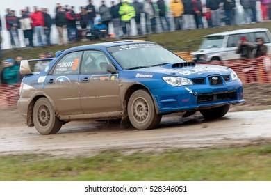 SVETA NEDELJA, CROATIA - NOVEMBER 27, 2016. 7th Rally Show Santa Domenica. Nenad Loncaric and Tomislav Pazman in Subaru Impreza STI NO LIMIT