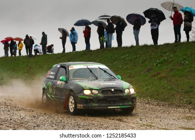 Sveta Nedjelja, Croatia - November 25, 2018. 9th Rally Show Santa Domenica. Jan Mrak and Luka Kustrin from Slovenia racing in the MG ZR 105.