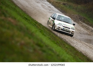 Sveta Nedjelja, Croatia - November 25, 2018 : 9th Rally Show Santa Domenica. Nejc Mrak and Zan Nagode from Slovenia racing in the Suzuki Swift GTI.