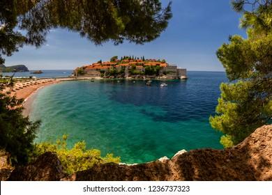 Sveti Stefan island in Budva in a beautiful summer day, Montenegro.