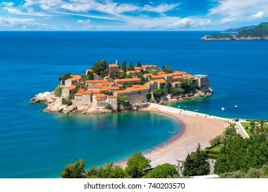 Sveti Stefan island in Budva in a beautiful summer day, Montenegro