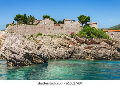 Sveti Stefan island. Resort near Budva, Montenegro. Balkans, Adriatic sea, Europe.