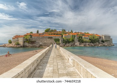 SVETI STEFAN, MONTENEGRO - 29 SEPTEMBER, 2017: Sveti Stefan is a small islet and 5-star hotel resort on the Adriatic coast of Montenegro Not far from Budva.