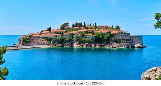 Sveti Stefan, MONTENEGRO - MAY 3, 2019: Sveti Stefan is a small islet and hotel resort in Montenegro, Europe