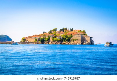 Sveti Stefan, old historical town and resort on the island. Montenegro