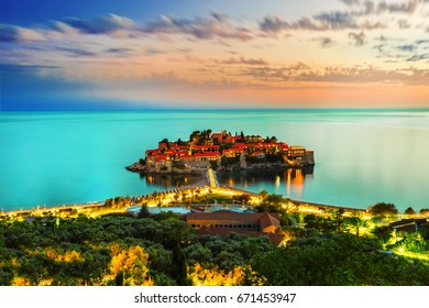 Sveti Stefan resort island in Montenegro at night