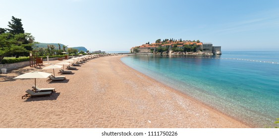 Sveti Stefan, small island and luxury resort in Budva, Montenegro. Balkans, Adriatic sea, Europe.
