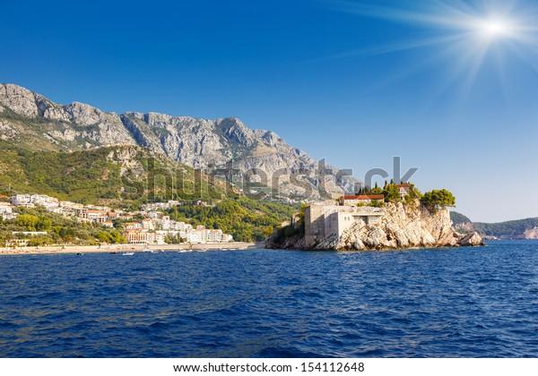 Sveti Stefan, small islet and resort in Montenegro. Balkans, Adriatic sea, Europe. Beauty world.
