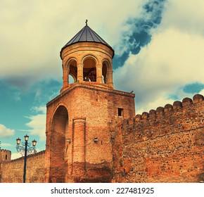 Svetitskhoveli Cathedral belfry in Mtskheta, Georgia country, Europe