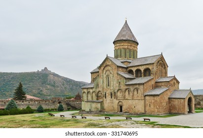 Svetitskhoveli church and castle complex panorama in Mtskheta, Georgia