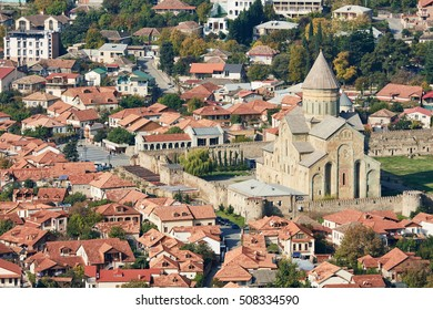 Svetitskhoveli orthodox Chiristian cathedral church complex in Mtskheta, Georgia. aerial view