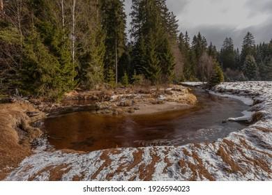 Svetla creek in winter snowy cold morning with sunshine color light - Shutterstock ID 1926594023