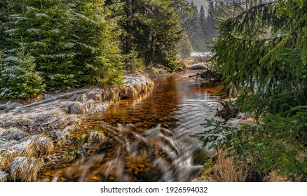 Svetla creek in winter snowy cold morning with sunshine color light - Shutterstock ID 1926594032