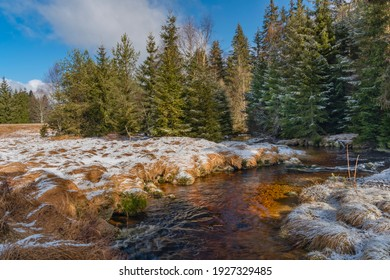 Svetla creek in winter snowy cold morning with sunshine color light - Shutterstock ID 1927329485