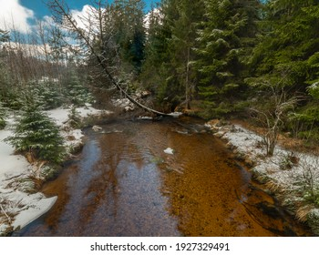 Svetla creek in winter snowy cold morning with sunshine color light - Shutterstock ID 1927329491