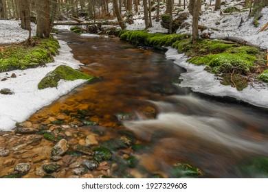 Svetla creek in winter snowy cold morning with sunshine color light - Shutterstock ID 1927329608