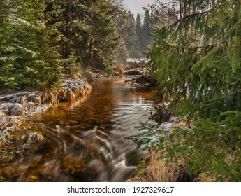 Svetla creek in winter snowy cold morning with sunshine color light - Shutterstock ID 1927329617