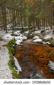 Svetla creek in winter snowy cold morning with sunshine color light - Shutterstock ID 1928868650
