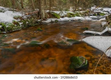 Svetla creek in winter snowy cold morning with sunshine color light - Shutterstock ID 1928868653