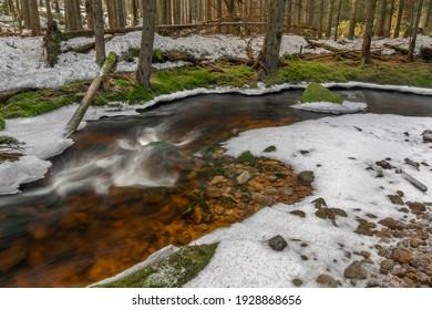 Svetla creek in winter snowy cold morning with sunshine color light - Shutterstock ID 1928868656