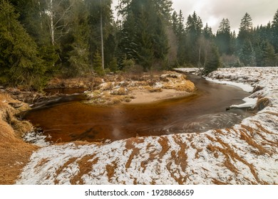 Svetla creek in winter snowy cold morning with sunshine color light - Shutterstock ID 1928868659