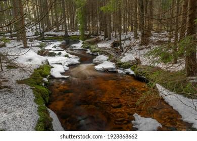 Svetla creek in winter snowy cold morning with sunshine color light - Shutterstock ID 1928868662