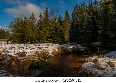 Svetla creek in winter snowy cold morning with sunshine color light - Shutterstock ID 1956504811