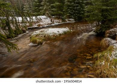 Svetla creek in winter snowy cold morning with sunshine color light - Shutterstock ID 1956504814