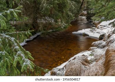 Svetla creek in winter snowy cold morning with sunshine color light - Shutterstock ID 1956504817