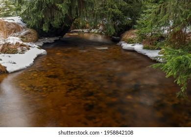 Svetla creek in winter snowy cold morning with sunshine color light - Shutterstock ID 1958842108