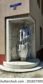 Svetlogorsk, Kaliningrad region, Russia - August 2 2021: The Raushen fisherman sculpture in Svetlogorsk