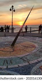 Svetlogorsk, Kaliningrad region, Russia - August 5 2021: The sunset on the promenade with sundial on the Baltic sea