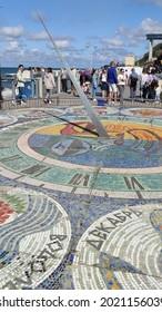 Svetlogorsk, Kaliningrad region, Russia - August 7 2021: The sundial on the promenade on the Baltic sea