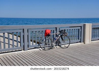 Svetlogorsk, Russia - June 5 2021: The bicycle on the promenade on the Baltic sea